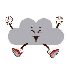 Kawaii fun cloud weather climate cartoon vector