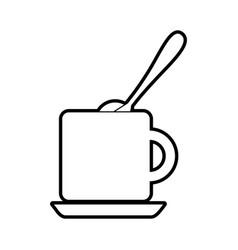 Coffee cup with sugar spoon vector