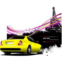 Yellow car sedan with paris image background vector
