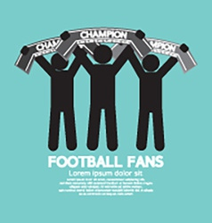 Football fans with champion scarves vector