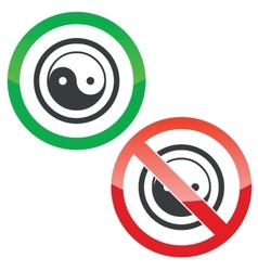 Ying yang permission signs vector