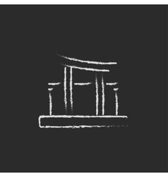 Torii gate icon drawn in chalk vector