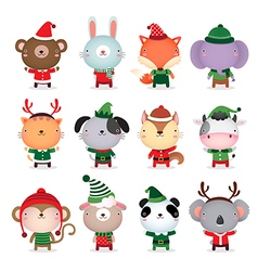 Collection of cute animals design with christmas vector