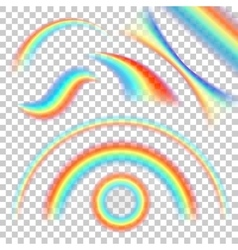 Different shape of realistic rainbows set vector