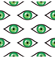 Seamless abstract pattern with green eyes vector