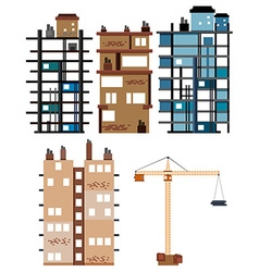 Buildings and construction tools vector