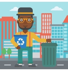 Man with recycle bins vector