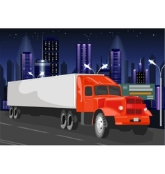 Red truck with white cargo container vector