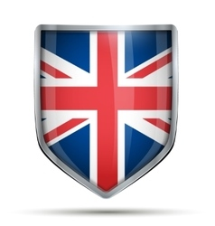 Shield with flag great britain vector