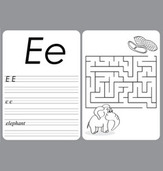 Alphabet a-z - puzzle worksheet - cute elephant vector