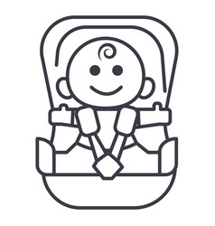 Baby in car security chair line icon sign vector
