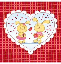 Bright background with hearts and bunnies vector image vector image