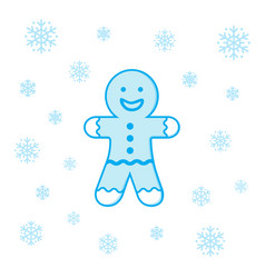 christmas cookie man and snowflakes vector image