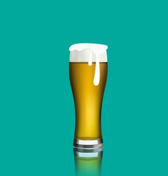 Close up realistic glass of beer with reflection vector image vector image