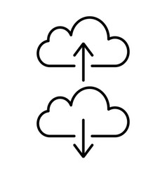 cloud backup and restore signs linear icon vector image