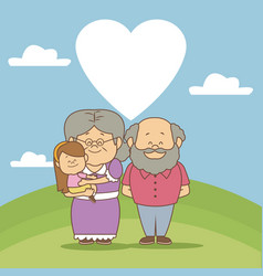 Color background scene in landscape elderly couple vector