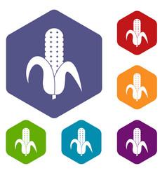 Corncob icons set hexagon vector