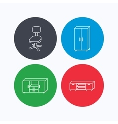 Cupboard TV table and office chair icons vector image
