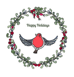 Cute cartoon bird red robin in floral wreath with vector