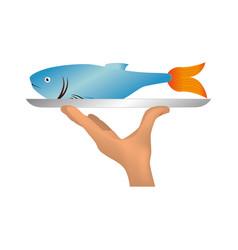 delicious sea food menu icon vector image vector image