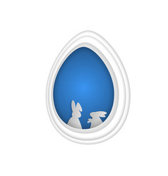 Easter bunny rabbit in hole papercut art vector