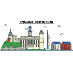 england portsmouth city skyline architecture vector image vector image