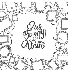 Family photo album cover - freehand drawing of vector