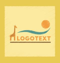 Flat shading style icon giraffe logo vector