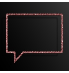 Frame Red Sequins Speech Bubble Sparkle Stars vector image
