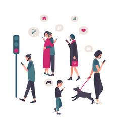 Gadgets smartphone addiction conceptual vector