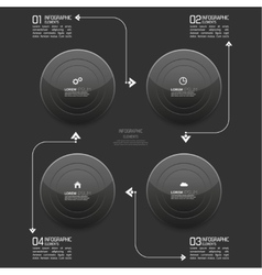 Glossy modern black plastic buttons with pointer vector