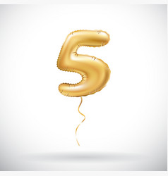 golden 5 number five metallic balloon party vector image