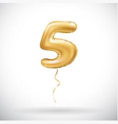 golden 5 number five metallic balloon party vector image vector image
