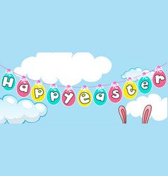 Happy easter card template with eggs in the sky vector