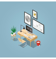 Isometric home office concept vector image vector image