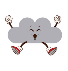Kawaii fun cloud weather climate cartoon vector