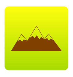 Mountain sign brown icon at vector
