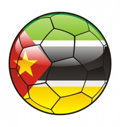 mozambique flag on soccer ball vector image vector image