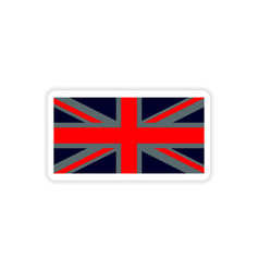 Paper sticker british flag on white background vector