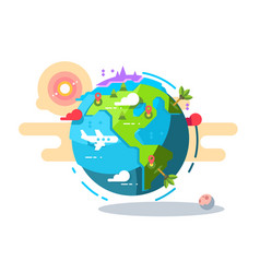 plane flying around the world geometric style vector image vector image