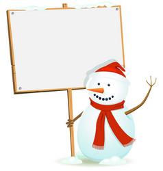 Santa snowman holding wood sign vector