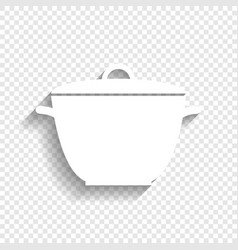 Saucepan simple sign white icon with soft vector