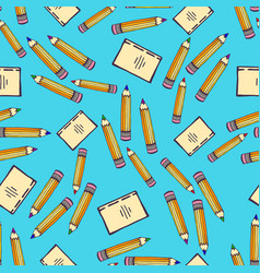 School seamless pattern with pencil and sketch vector