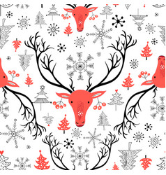 seamless new year pattern with red portraits of vector image vector image