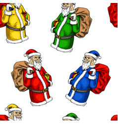 seamless pattern santa claus merry christmas or vector image