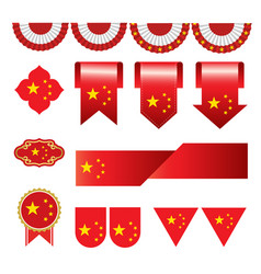 set of china flag icon and label vector image vector image