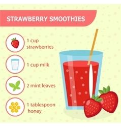 Strawberry smoothie recipe with ingredients vector