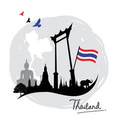 thailand place landmark travel icon cartoon vector image vector image