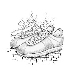 The image of sports sneakers on granite paving vector