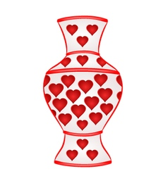 Vase with red hearts part of porcelain vector